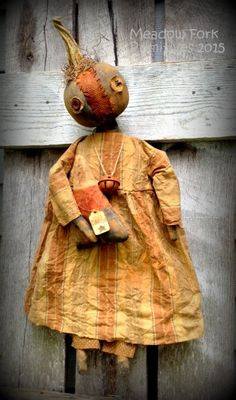 "Extreme Primitive Gungy, Dirty, ""Conelia"" Blue Pumpkin Doll-Candy Corn-Fall-Halloween-Folk Art-Handcrafted-Faap, Hafair Team by MeadowForkPrims on Etsy"