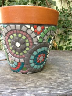 Handmade mosaic flower pot -love how the rim is still exposed