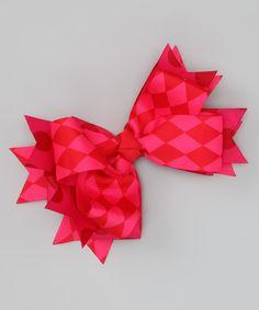 Payton Grace Bows Hot Pink & Crimson Harlequin Bow Clip by Payton Grace Bows #zulily #zulilyfinds