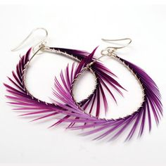 Feather Hoops Purple now featured on Fab. Feather Earrings, Tech Accessories, Purple, My Style, Beautiful, Jewelry, Design, Nice, Women