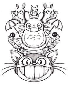 This would make an amazing tattoo. I would love this. Love love love. Totoro!