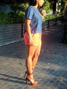 Zara top, guess shorts