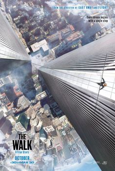 """Robert Zemeckis recreates New York's World Trade Center in """"The Walk"""". Joseph Gordon-Levitt stars as real life tight rope artist Philippe Petit's as he attempts to walk across the twin towers. Watch the trailer. Joseph Gordon Levitt, Forrest Gump, World Trade Center, 2015 Movies, Hd Movies, Movies Online, Movies Free, Watch Movies, Amazon Movies"""