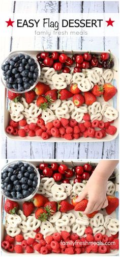Easy Flag Fruit Dessert. Perfect patriotic dish for Memorial Day or Fourth of July! Minus the cherries