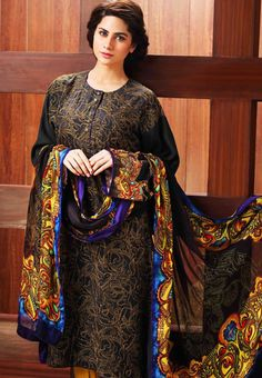 Buy Online winter Collections in UK & USA Buy Black Silk Embroidered Salwar Kameez Dress by resham ghar Winter Collection