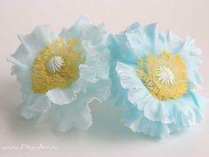Свадьба : Голубой мак из холодного фарфора - В НАЛИЧИИ - Fito Art