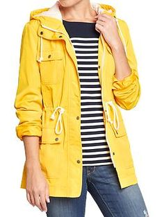 Yellow raincoat with a navy, purple, and yellow flannel lining ...