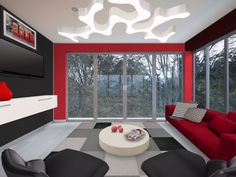 Red and Black living room.... Love it.... I want to make my red and black couch turn into an entire living room.