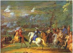 Duc d'Enghien at the Battle of Rocroi.  The Battle was fought on 19 May 1643 - mere days after the passing of Louis XIII of France that left his five-year old son Louis XIV of France on the throne - late in the Thirty Years' War. It resulted in a victory of the French army under the Duc d'Enghien, against the Spanish army under General Francisco de Melo. Further, it is considered the turning point of the perceived invincibility of the Spanish tercio.