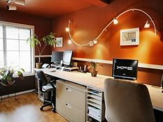 Home office lights Office Workstation Wall Mounted Track Lighting Fixtures For Small Modern Home Office Design With Dark Orange Wall Interior Color Decor Plus White Wooden Desk With File Pinterest Best Office Lighting Images Home Office Desks Office Home
