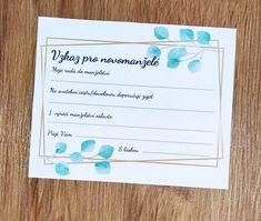 Stáhni si zdarma šablonu na vzkazy pro novomanželé #svatebnizabava, #svatebnihry, #svatebnipripravy, #svatba Bullet Journal