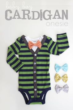 DIY Baby Boy Cardigan Onesie (with interchangeable bowties) : Change a onesie into a dapper cardigan.  Great gift idea for anyone who is expecting.  www.makeit-loveit.com