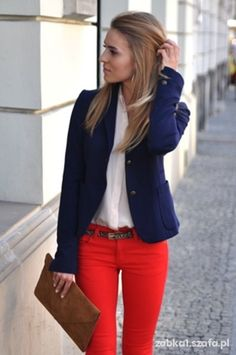 red jeans, white shirt, blue jacket