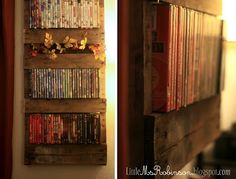 DIY DVD rack out of a wood pallet.
