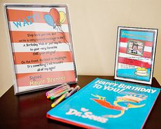 have a copy of the birthday book for guests to sign - also the sign next to it is so cute!