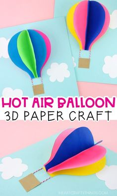 Use our free template to create this gorgeous paper hot air balloon craft. Fun paper craft and summer craft for preschoolers and kids of all ages. Summer Crafts For Kids, Paper Crafts For Kids, Easy Crafts For Kids, Summer Kids, Preschool Crafts, Craft Kids, Fun Arts And Crafts, Craft Art, Kid Crafts