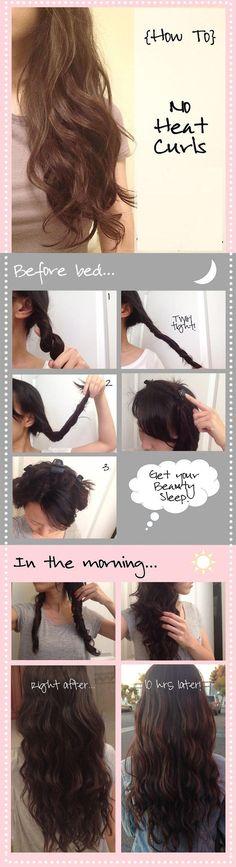 DIY No Heat Curls fashion diy diy ideas easy diy diy beauty diy hair diy fashion beauty diy diy curls diy style diy hair style