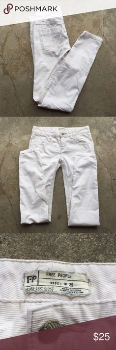 """Free People skinny cords FP white skinny cords in very good condition just because they're white. Waist 14"""" rise 7.5"""" inseam 31.5"""" Free People Pants Skinny"""