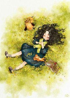 Illustration by South Korean artist Aeppol. Art And Illustration, Forest Girl, Anime Art Girl, Belle Photo, Cute Cartoon, Cute Drawings, Cute Wallpapers, Cute Art, Fantasy Art