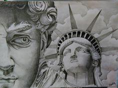 Saki art david america drawing black end with tattoo