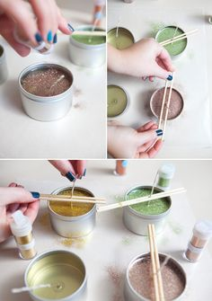 Learn how to make poured candles and add glitter to the top! Great cheap and sparkly gift!