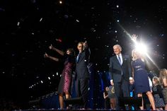 The Obama and Biden families are seen at McCormick Place in Chicago on election night, Nov. 6, 2012, when President Barack Obama and Vice President Joe Biden won a second term.