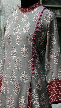 a stunning mughal-styled high collar dress in bagru print & fabric potli buttons! main fabric: handblock printed fabric from natural dyes from bagru, Salwar Neck Designs, Kurta Neck Design, Kurta Designs Women, Dress Neck Designs, Designs For Dresses, Blouse Designs, Long Dress Patterns, Kurta Patterns, Pakistani Dresses Casual