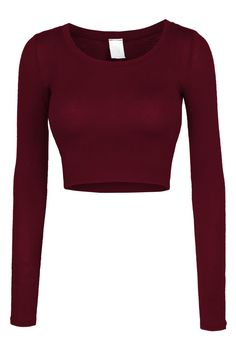 LE3NO Womens Fitted Long Sleeve Crop Top with Stretch