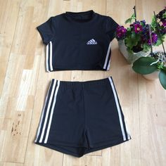 reworked adidas two piece t-shirt crop top cord by sassygarmsuk