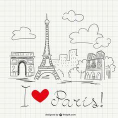I love Paris sketch Free Vector Paris Party, Paris Theme, Tour Eiffel, Paris Clipart, Paris Drawing, Cityscape Drawing, Eiffel Tower Art, Sketch Free, School Notebooks
