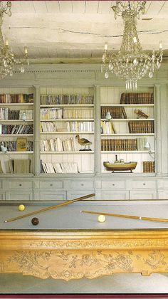 gorgeous French-influenced billiards room, dove gray, built-in bookshelf wall, twin chandeliers