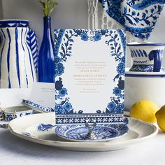 Blue   Lucky Luxe Couture Correspondence   Letterpress Wedding Stationery  The Blue invitation suite is inspired by a mix of cultures in our favorite classic, bold color palette: the cobalt blue and crisp white Asian patterns of our mothers' Blue Willow porcelain china, the vibrant shades of Mykonos, and classic floral Delftware with a simple foil stamped or ink text design that dances with the complexity of patterns.