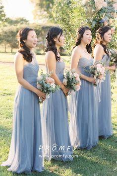 8b949aafdc5 Beautiful Pleated Strapless Sweetheart Steel Blue Tulle Long Bridesmaid  Dresses
