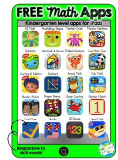 What's better than free stuff for your classroom? and when it comes to apps for your kiddos iPads, new apps can get pricey. Great for kids learning. Learning Apps, Preschool Learning, Kindergarten Math, Preschool Activities, Teaching Math, Listening Activities, Preschool Classroom, Free Math Apps, Educational Websites For Kids