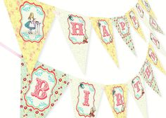 Amazon.com: Alice in Wonderland Happy Birthday Banner: Toys & Games