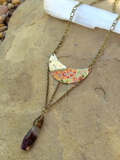 Amethyst & Vintage Tin Necklace // Paisley Pattern by Kissthearth