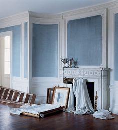 Ralph Lauren Indigo Denim paint treatment...less $$, DIY alternative to grasscloth wallpaper???
