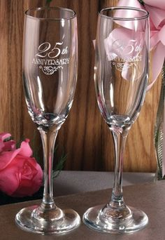 25th Anniversary Toasting Flutes from Wedding Favors Unlimited