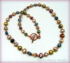Colorful Freshwater Pearl Copper Beaded Necklace