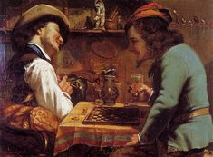 The Athenaeum - The Draughts Players (Gustave Courbet - ) 1844 Oil on canvas - Private collection