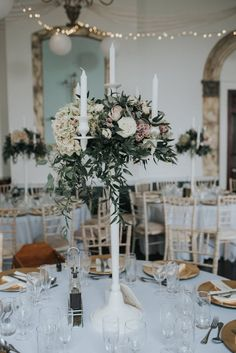 Elegant White Candelabra Centrepiece - Holly Bobbins Photography | Quaker Ceremony | Elegant Kings Weston House Reception | Two Brides in Three Wedding Dresses | Blush Pink Adele Chi Chi London Bridesmaid Dresses | Second Shooter Kitty Wheeler Shaw Photography