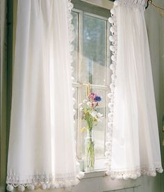 Classic Ball Fringe Perma-Press Tier Curtains-kitchen  http://www.countrycurtains.com/product/010160388a+classic+ball+fringe+perma-press+tier+curtains.do#