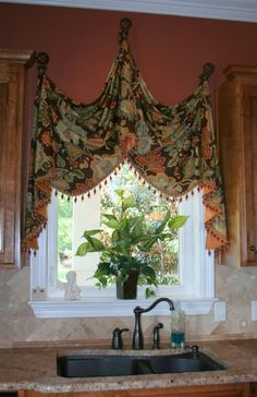 Tuscan style – Mediterranean Home Decor Valance Window Treatments, Kitchen Window Treatments, Custom Window Treatments, Window Coverings, Cornices, Tuscan Design, Tuscan Style, Curtains And Draperies, Drapery