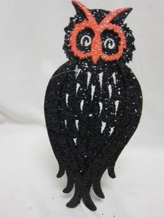 """One Hundred 80 Degrees Black Glittery 14"""" Silouette Stand Up Halloween Owl   eBay"""