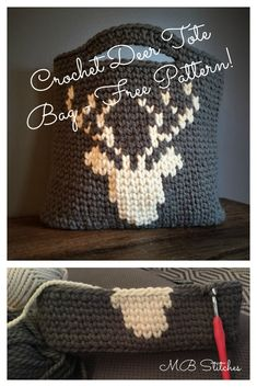 Crochet Deer tote bag - free pattern!