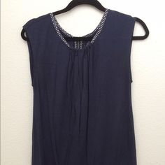 Loft Navy Blue top Great used condition, navy blue with cute detail at neck and zipper on the back, banded bottom. LOFT Tops Tank Tops