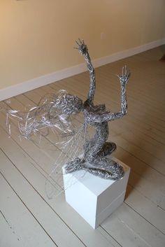 Aurora stainless steel wire fairy. #fairysculpture Wire Sculptures, Stainless Steel Wire, First Art, Heron, Faeries, Aurora, Fairy, Display, Gallery