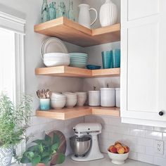 50 Best Modern Kitchen Design Ideas - The Trending House Cottage Kitchens, Home Kitchens, Tiny Kitchens, Kitchen Redo, Kitchen Remodel, Kitchen Ideas, Corner Shelves Kitchen, Open Shelf Kitchen, Open Kitchen Cabinets