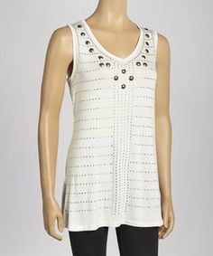 Another great find on #zulily! Ivory Dash Studded Sleeveless V-Neck Top by Simply Irresistible #zulilyfinds