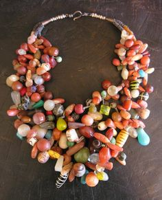by Anna Holland | A fantastic necklace combining antique and ancient beads collected in West Africa | SOLD